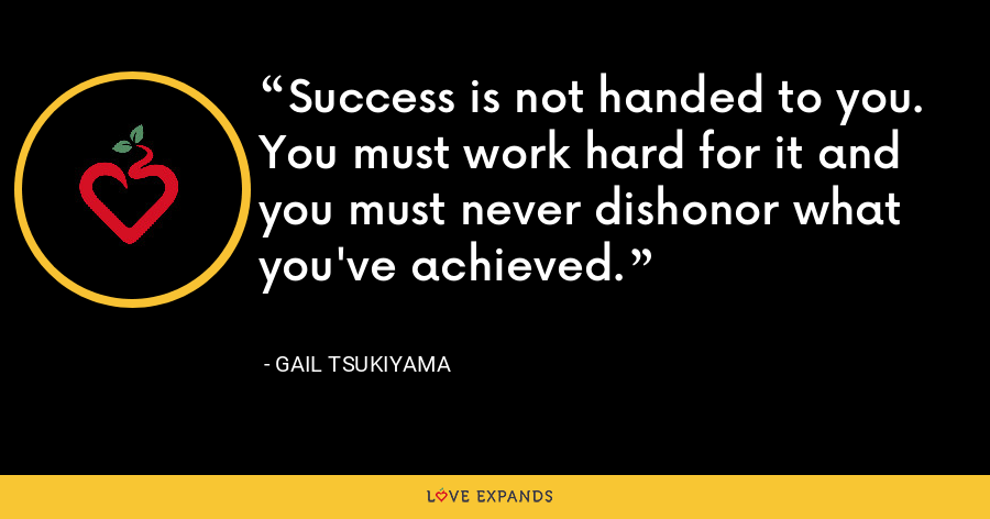Success is not handed to you. You must work hard for it and you must never dishonor what you've achieved. - Gail Tsukiyama