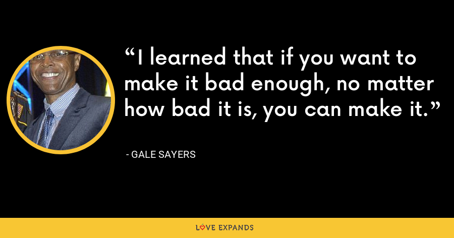 I learned that if you want to make it bad enough, no matter how bad it is, you can make it. - Gale Sayers