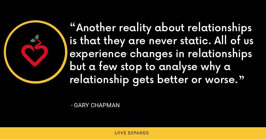 Another reality about relationships is that they are never static. All of us experience changes in relationships but a few stop to analyse why a relationship gets better or worse. - Gary Chapman