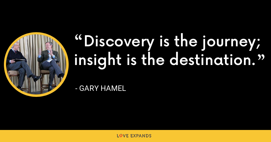 Discovery is the journey; insight is the destination. - Gary Hamel