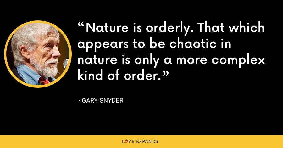Nature is orderly. That which appears to be chaotic in nature is only a more complex kind of order. - Gary Snyder