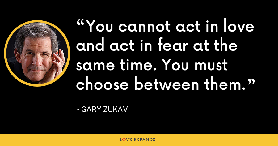 You cannot act in love and act in fear at the same time. You must choose between them. - Gary Zukav