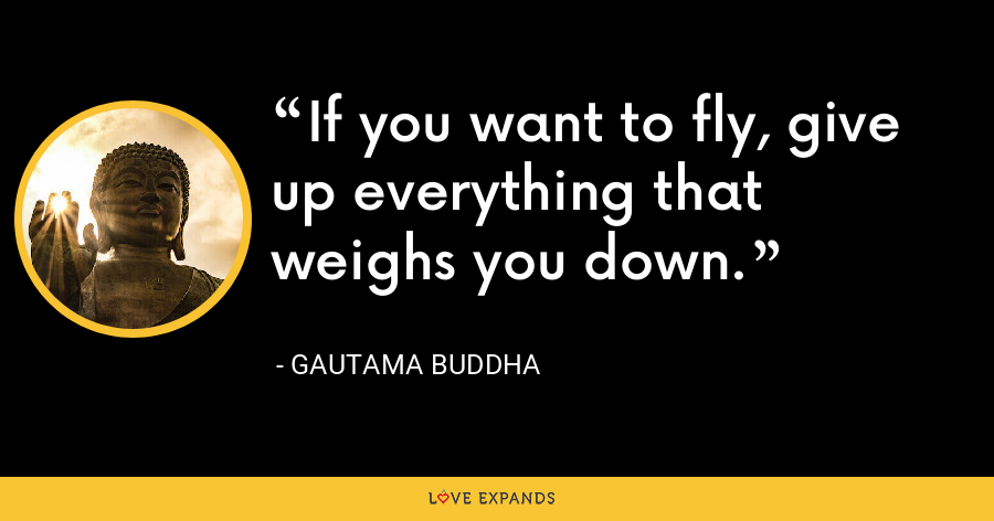 If you want to fly, give up everything that weighs you down. - Gautama Buddha