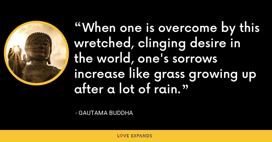 When one is overcome by this wretched, clinging desire in the world, one's sorrows increase like grass growing up after a lot of rain. - Gautama Buddha