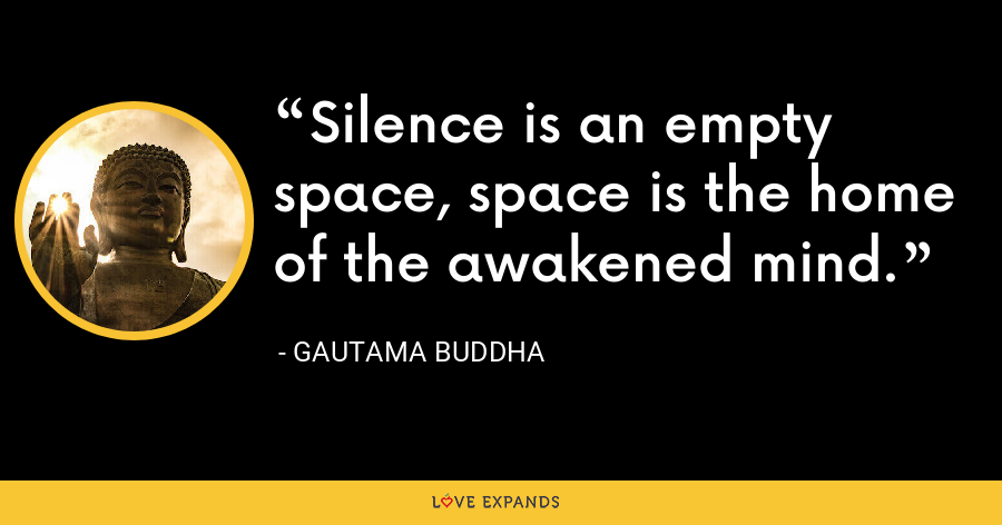 Silence is an empty space, space is the home of the awakened mind. - Gautama Buddha