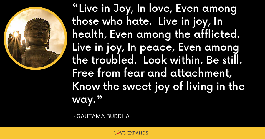 Live in Joy, In love, Even among those who hate.  Live in joy, In health, Even among the afflicted.  Live in joy, In peace, Even among the troubled.  Look within. Be still. Free from fear and attachment, Know the sweet joy of living in the way. - Gautama Buddha