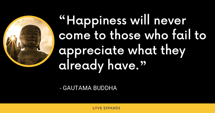 Happiness will never come to those who fail to appreciate what they already have. - Gautama Buddha