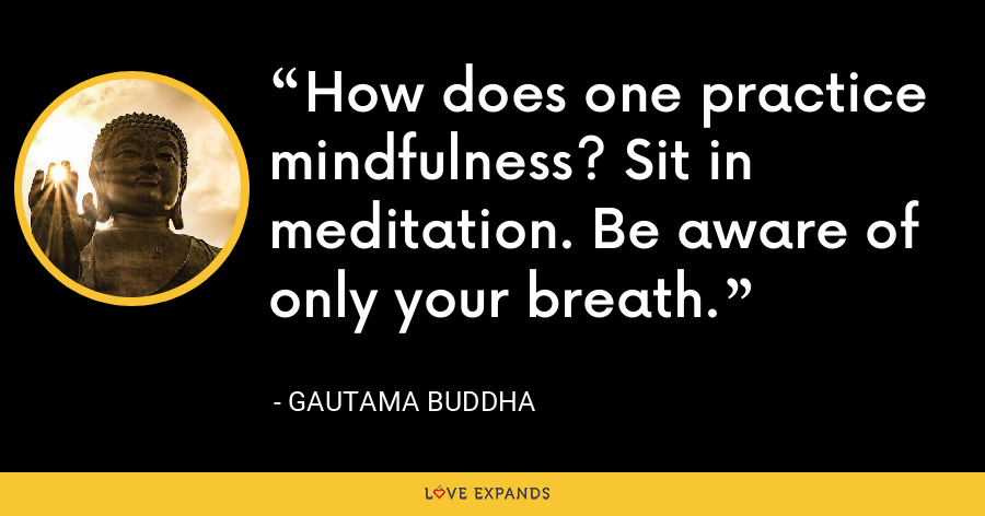 How does one practice mindfulness? Sit in meditation. Be aware of only your breath. - Gautama Buddha