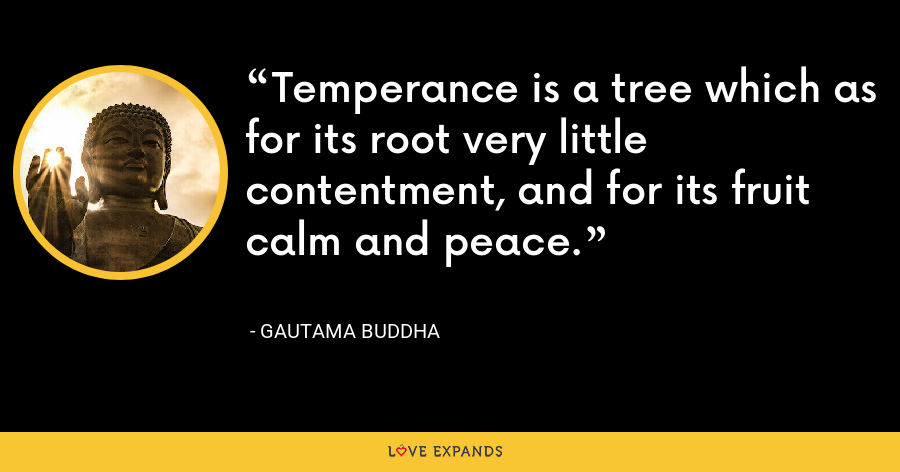 Temperance is a tree which as for its root very little contentment, and for its fruit calm and peace. - Gautama Buddha
