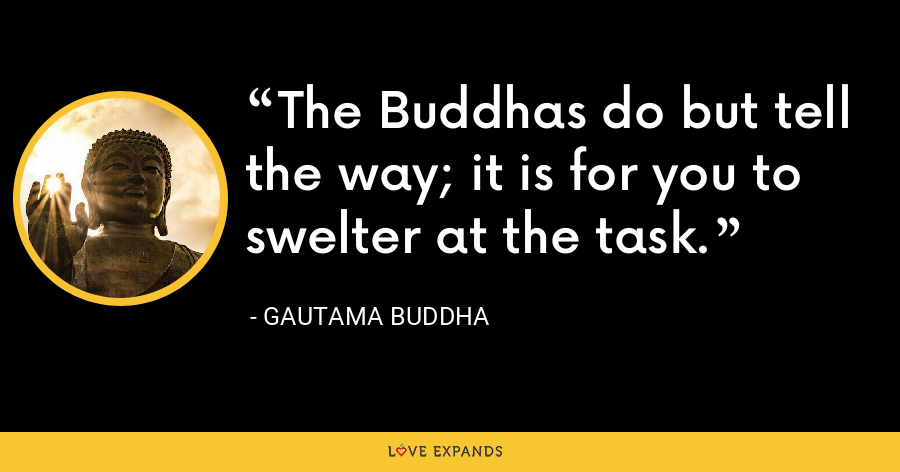 The Buddhas do but tell the way; it is for you to swelter at the task. - Gautama Buddha