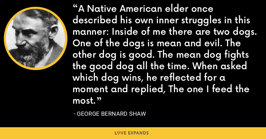 A Native American elder once described his own inner struggles in this manner: Inside of me there are two dogs. One of the dogs is mean and evil. The other dog is good. The mean dog fights the good dog all the time. When asked which dog wins, he reflected for a moment and replied, The one I feed the most. - George Bernard Shaw