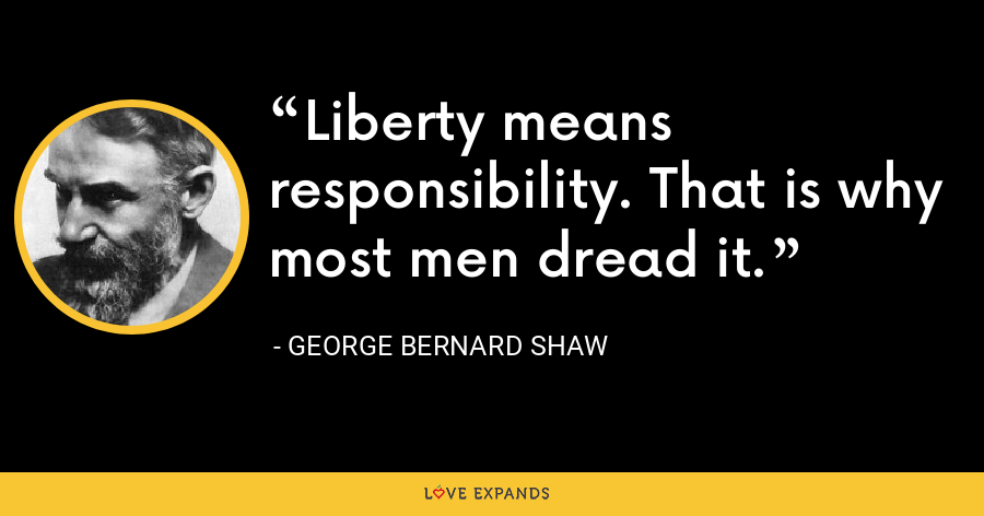 Liberty means responsibility. That is why most men dread it. - George Bernard Shaw