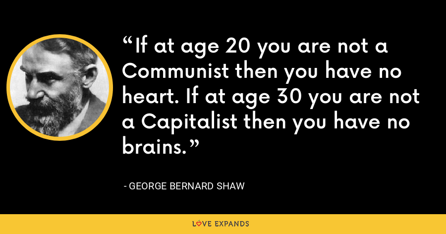 If at age 20 you are not a Communist then you have no heart. If at age 30 you are not a Capitalist then you have no brains. - George Bernard Shaw