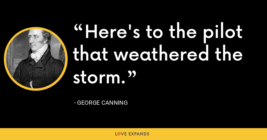 Here's to the pilot that weathered the storm. - George Canning