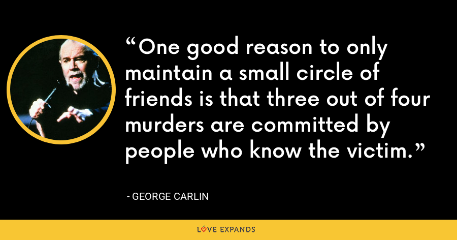 One good reason to only maintain a small circle of friends is that three out of four murders are committed by people who know the victim. - George Carlin