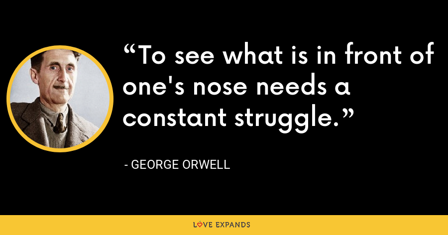 To see what is in front of one's nose needs a constant struggle. - George Orwell