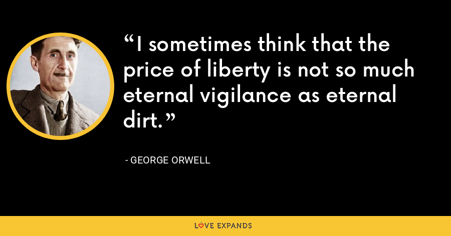 I sometimes think that the price of liberty is not so much eternal vigilance as eternal dirt. - George Orwell