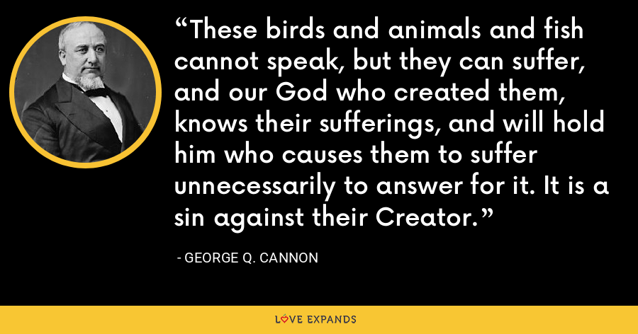 These birds and animals and fish cannot speak, but they can suffer, and our God who created them, knows their sufferings, and will hold him who causes them to suffer unnecessarily to answer for it. It is a sin against their Creator. - George Q. Cannon