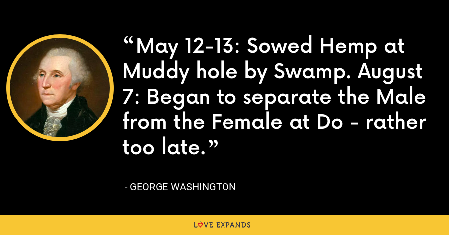 May 12-13: Sowed Hemp at Muddy hole by Swamp. August 7: Began to separate the Male from the Female at Do - rather too late. - George Washington