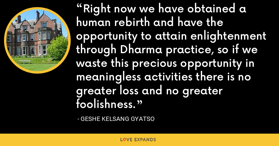 Right now we have obtained a human rebirth and have the opportunity to attain enlightenment through Dharma practice, so if we waste this precious opportunity in meaningless activities there is no greater loss and no greater foolishness. - Geshe Kelsang Gyatso