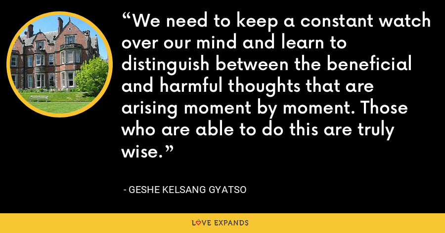 We need to keep a constant watch over our mind and learn to distinguish between the beneficial and harmful thoughts that are arising moment by moment. Those who are able to do this are truly wise. - Geshe Kelsang Gyatso