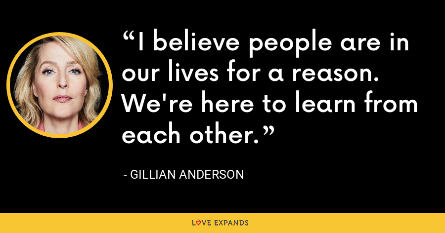 I believe people are in our lives for a reason. We're here to learn from each other. - Gillian Anderson