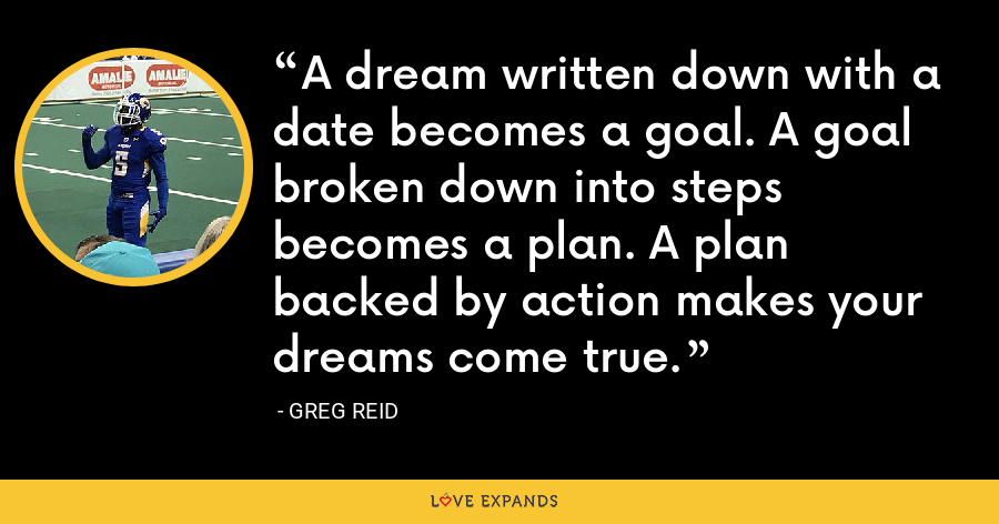 A dream written down with a date becomes a goal. A goal broken down into steps becomes a plan. A plan backed by action makes your dreams come true. - Greg Reid