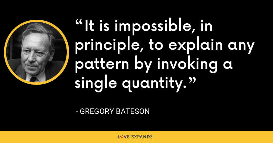 It is impossible, in principle, to explain any pattern by invoking a single quantity. - Gregory Bateson