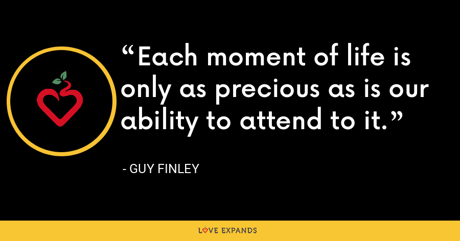 Each moment of life is only as precious as is our ability to attend to it. - Guy Finley