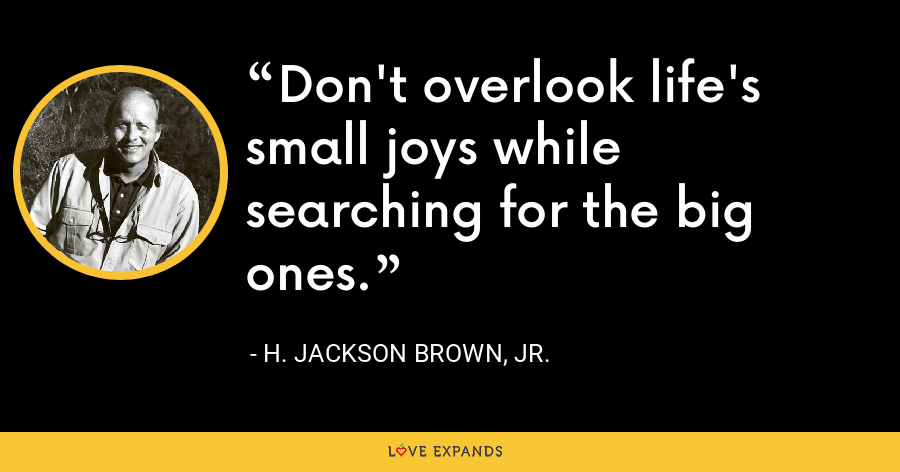 Don't overlook life's small joys while searching for the big ones. - H. Jackson Brown, Jr.
