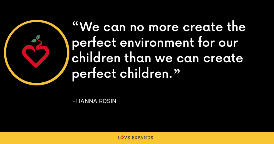 We can no more create the perfect environment for our children than we can create perfect children. - Hanna Rosin