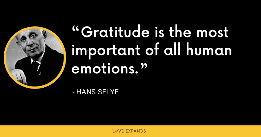 Gratitude is the most important of all human emotions. - Hans Selye