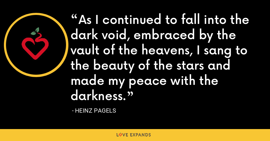 As I continued to fall into the dark void, embraced by the vault of the heavens, I sang to the beauty of the stars and made my peace with the darkness. - Heinz Pagels