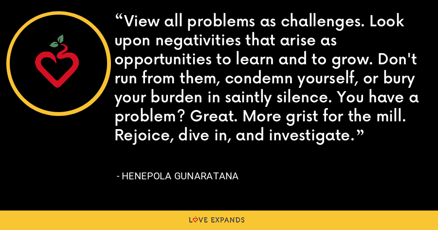 View all problems as challenges. Look upon negativities that arise as opportunities to learn and to grow. Don't run from them, condemn yourself, or bury your burden in saintly silence. You have a problem? Great. More grist for the mill. Rejoice, dive in, and investigate. - Henepola Gunaratana