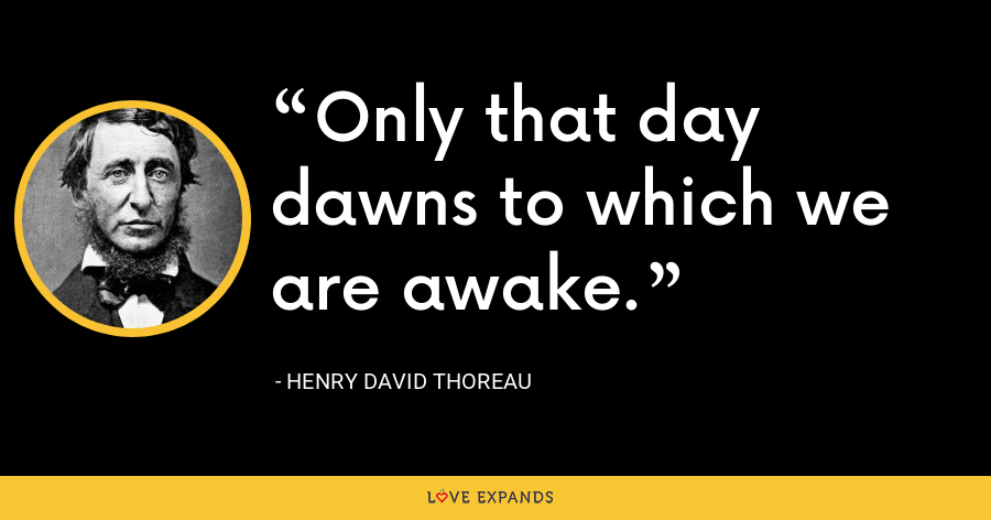 Only that day dawns to which we are awake. - Henry David Thoreau