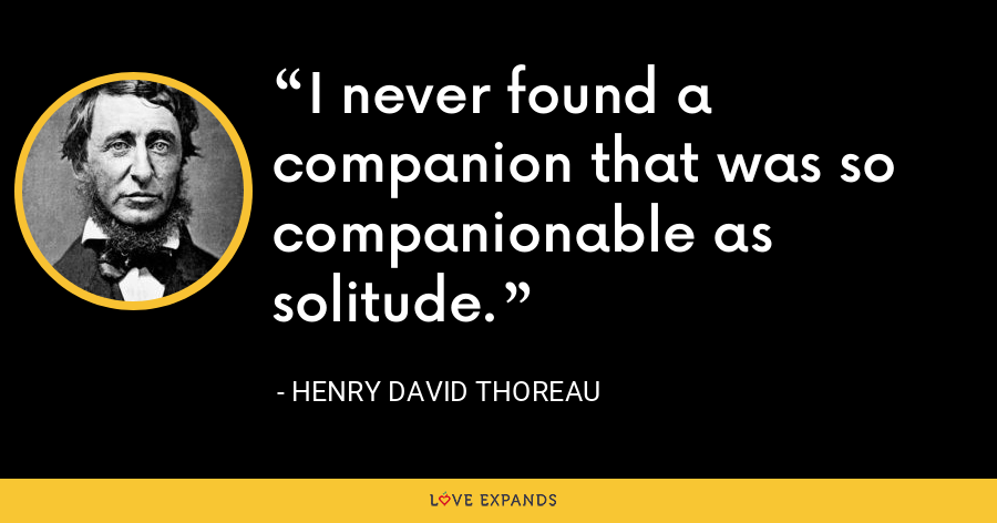 I never found a companion that was so companionable as solitude. - Henry David Thoreau