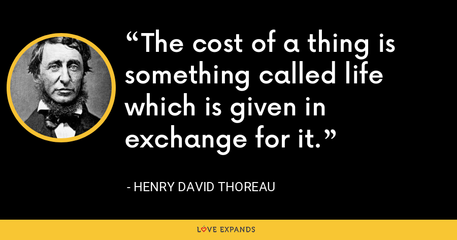 The cost of a thing is something called life which is given in exchange for it. - Henry David Thoreau