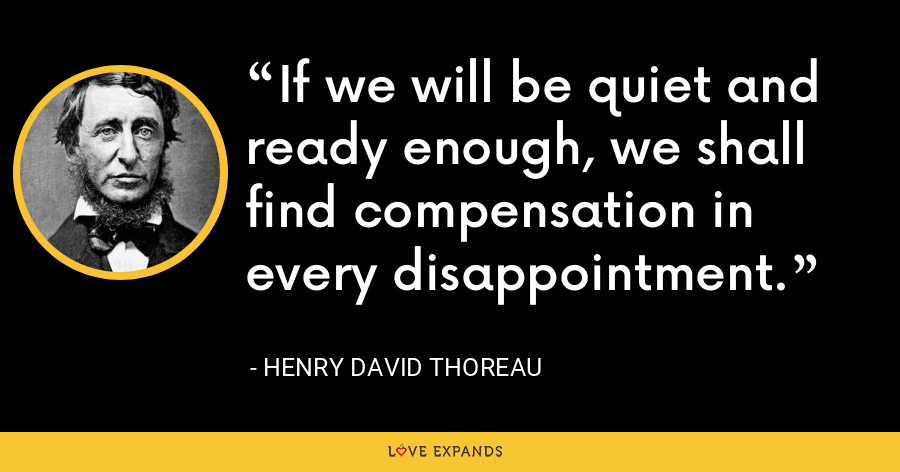 If we will be quiet and ready enough, we shall find compensation in every disappointment. - Henry David Thoreau