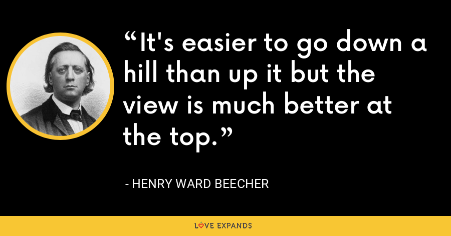 It's easier to go down a hill than up it but the view is much better at the top. - Henry Ward Beecher