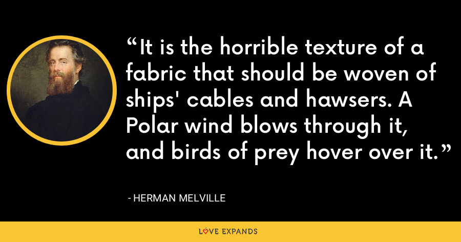 It is the horrible texture of a fabric that should be woven of ships' cables and hawsers. A Polar wind blows through it, and birds of prey hover over it. - Herman Melville