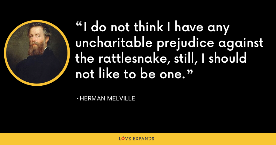 I do not think I have any uncharitable prejudice against the rattlesnake, still, I should not like to be one. - Herman Melville