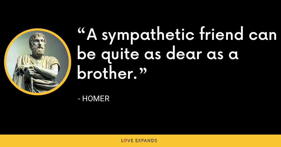A sympathetic friend can be quite as dear as a brother. - Homer