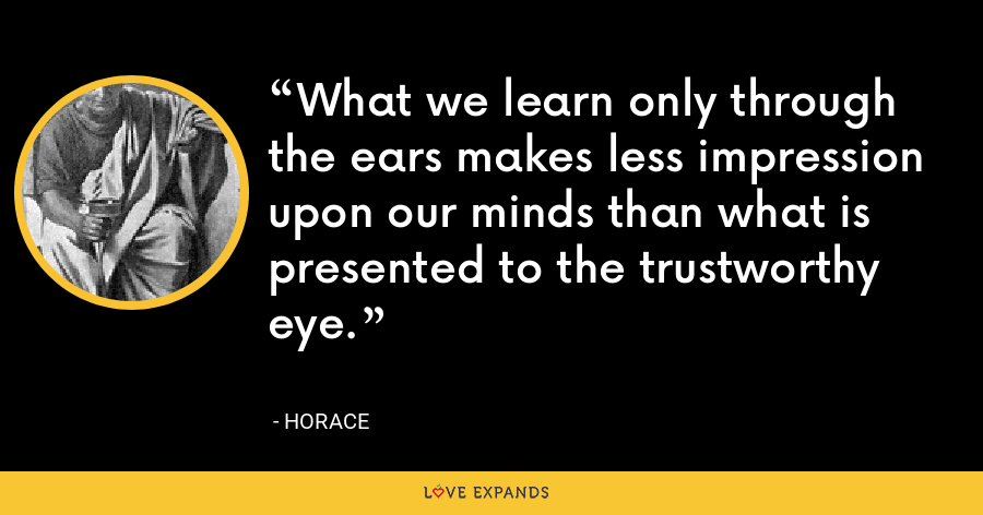 What we learn only through the ears makes less impression upon our minds than what is presented to the trustworthy eye. - Horace