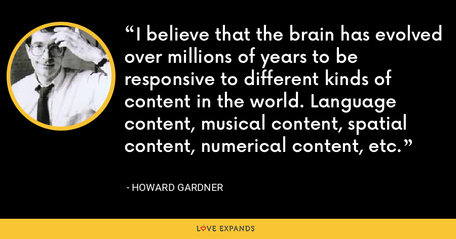 I believe that the brain has evolved over millions of years to be responsive to different kinds of content in the world. Language content, musical content, spatial content, numerical content, etc. - Howard Gardner