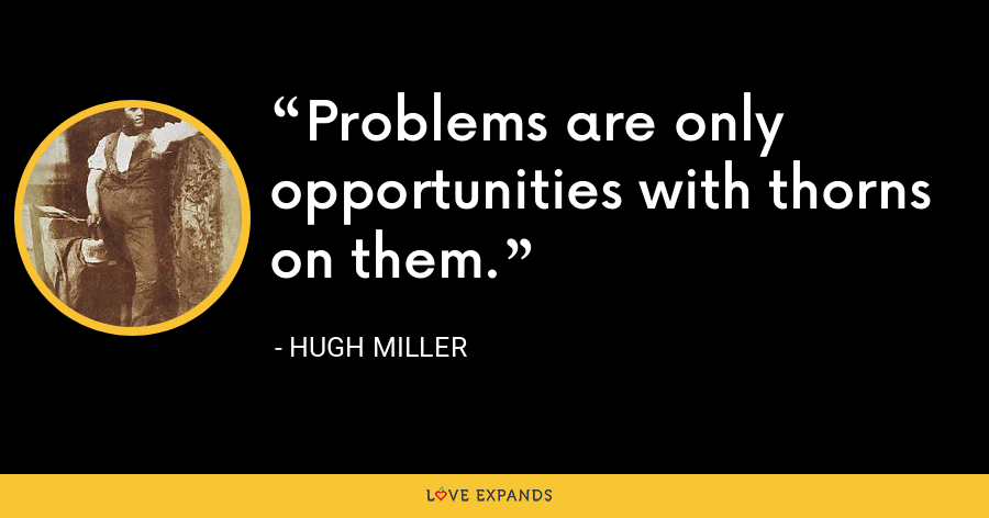 Problems are only opportunities with thorns on them. - Hugh Miller