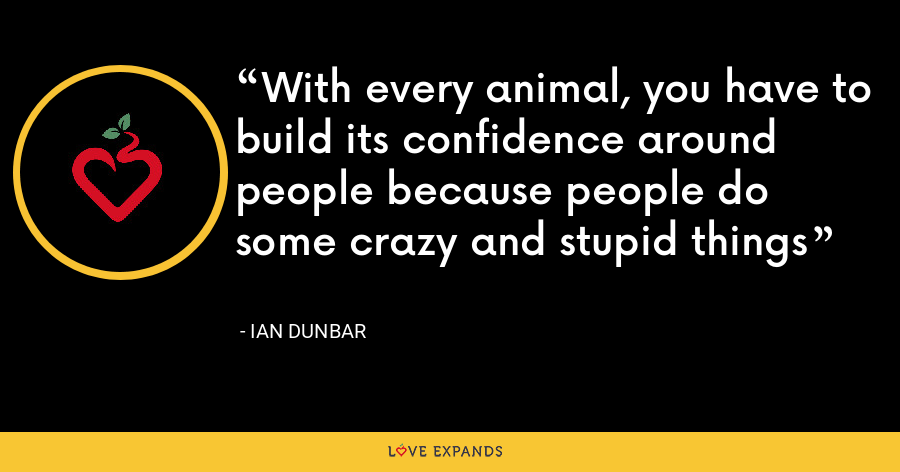 With every animal, you have to build its confidence around people because people do some crazy and stupid things - Ian Dunbar