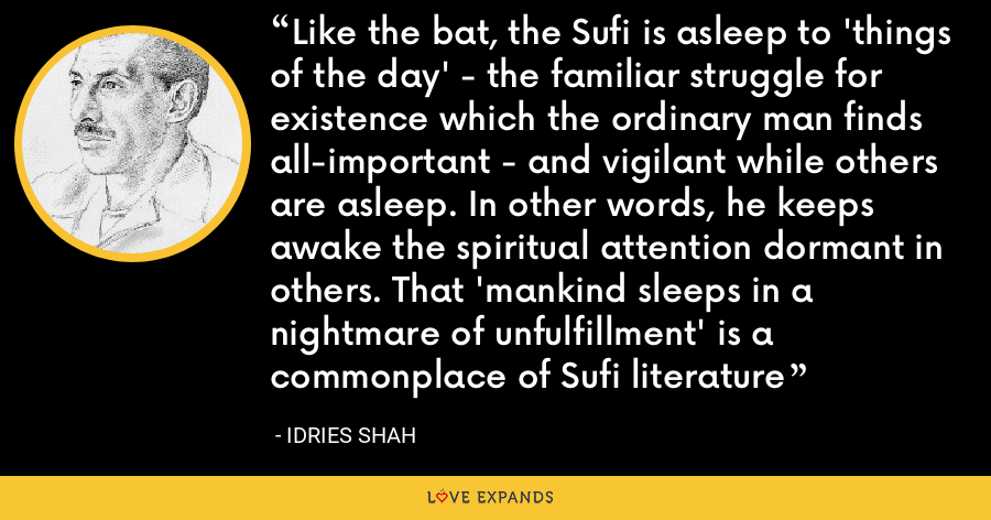 Like the bat, the Sufi is asleep to 'things of the day' - the familiar struggle for existence which the ordinary man finds all-important - and vigilant while others are asleep. In other words, he keeps awake the spiritual attention dormant in others. That 'mankind sleeps in a nightmare of unfulfillment' is a commonplace of Sufi literature - Idries Shah