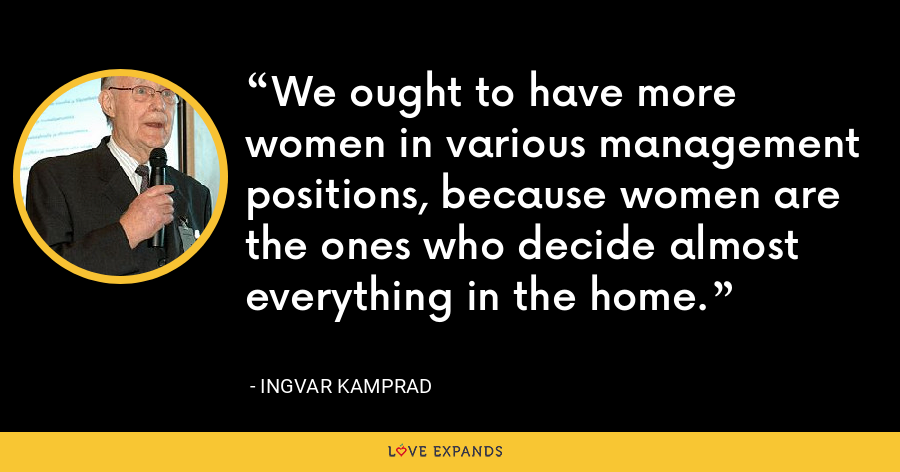 We ought to have more women in various management positions, because women are the ones who decide almost everything in the home. - Ingvar Kamprad