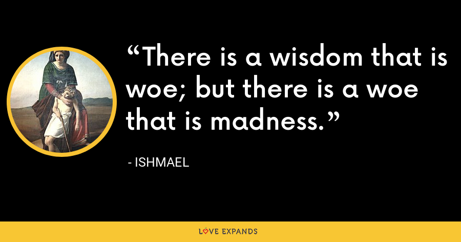 There is a wisdom that is woe; but there is a woe that is madness. - Ishmael