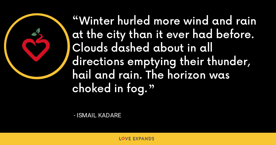 Winter hurled more wind and rain at the city than it ever had before. Clouds dashed about in all directions emptying their thunder, hail and rain. The horizon was choked in fog. - Ismail Kadare